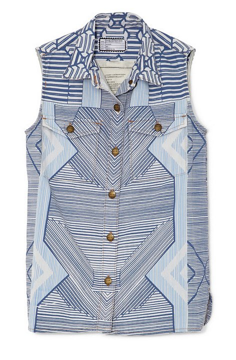 Own a piece of the Mary Katrantzou and Current/Elliott collaboration. This printed denim vest ($165, originally $330) is perfect for throwing over tees and sundresses right now.