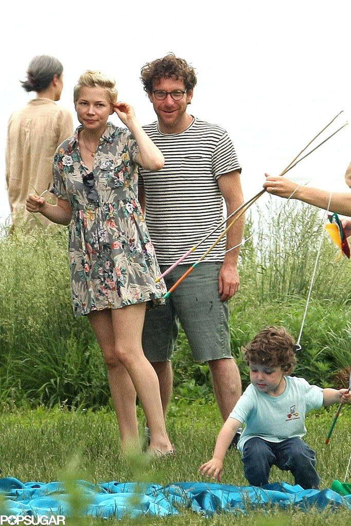 Michelle Williams and Dustin Yellin went casual for a birthday party.