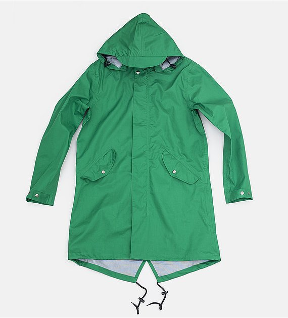 Dealing with inclement weather needn't require a total fashion meltdown for you or your guy. We love Saturdays Surf NYC's grassy green slicker ($299) for rainy days.