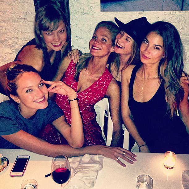 It was a girls' night out for models Karlie Kloss, Erin Heatherton, Candice Swanepoel, Lily Aldridge and Behati Prinsloo. Source: Instagram user behatiiprinsloo