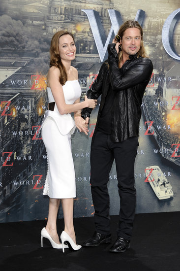 Angelina Jolie spent her 38th birthday with Brad Pitt at his World War Z premiere in Berlin.