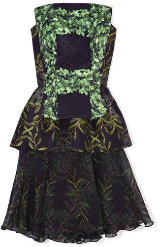 Rodarte Black And Greenivy Trellis Printed Silk Strapless Dress