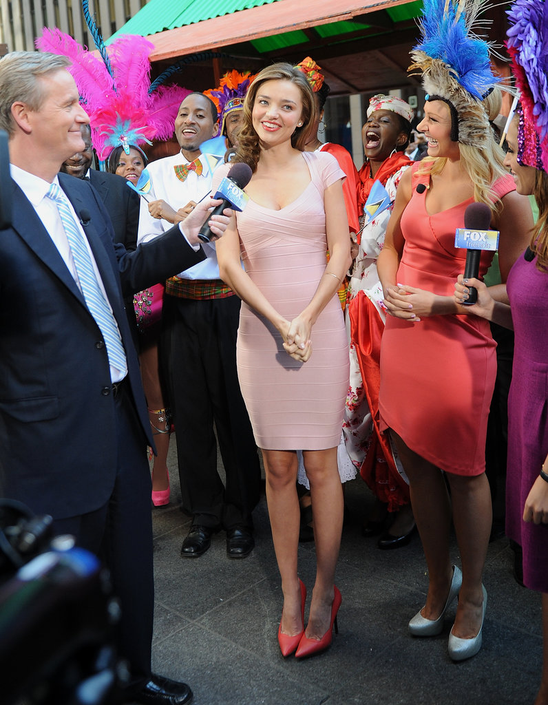 Miranda Kerr paid a visit to the set of Fox & Friends in NYC.