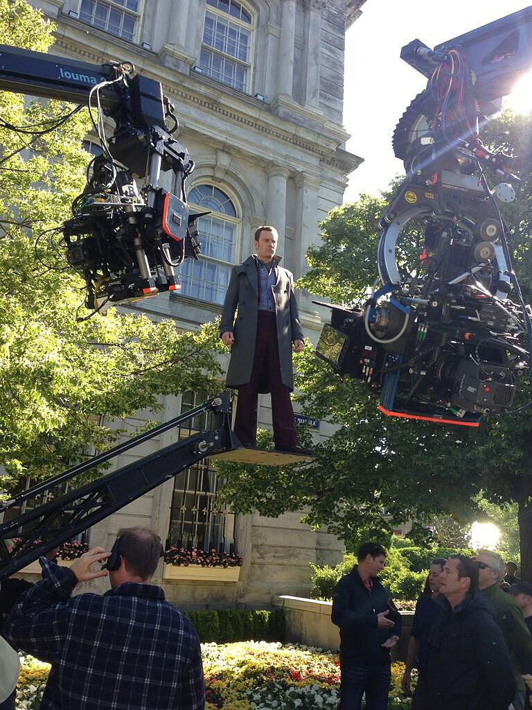 Michael Fassbender got some air while filming X-Men