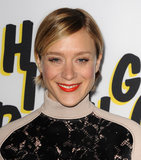 Chloë Sevigny wore her short bob tucked behind the ears and paired it with a tangerine-orange lipstick.