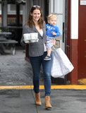 Jennifer Garner had baby Samuel on her hip for a coffee stop in LA.