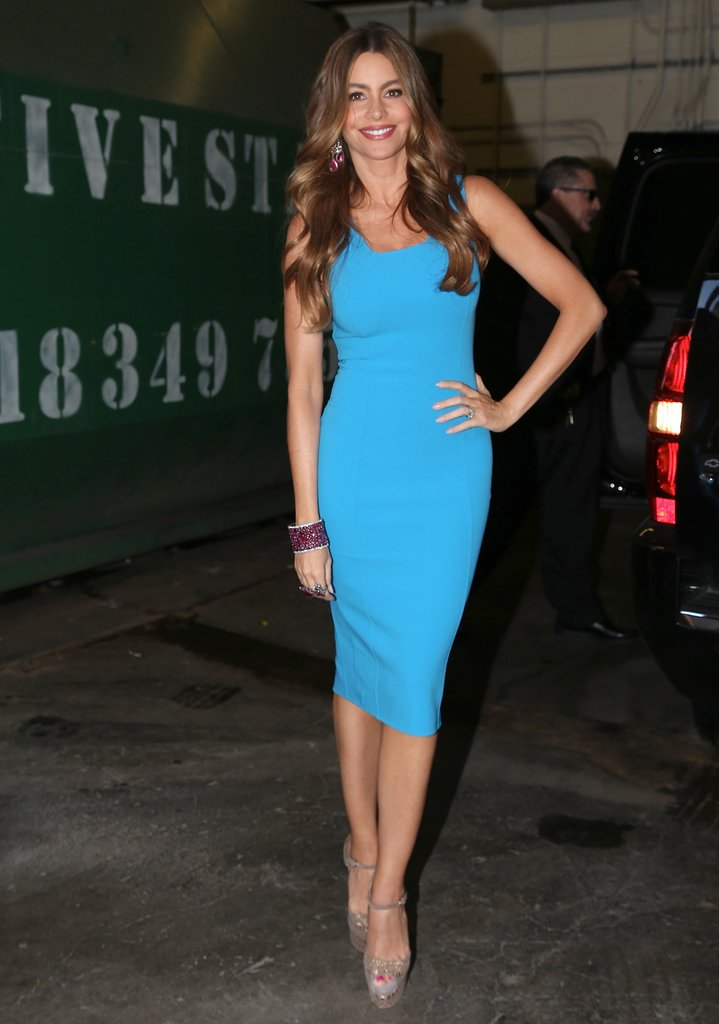 Sofia Vergara showed off her gorgeous curves in a bright blue Michael Kors sheath dress, then accented her look with shiny Lorraine Schwartz jewels and glittery pumps.