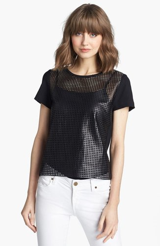 Trouve Perforated Leather Tee