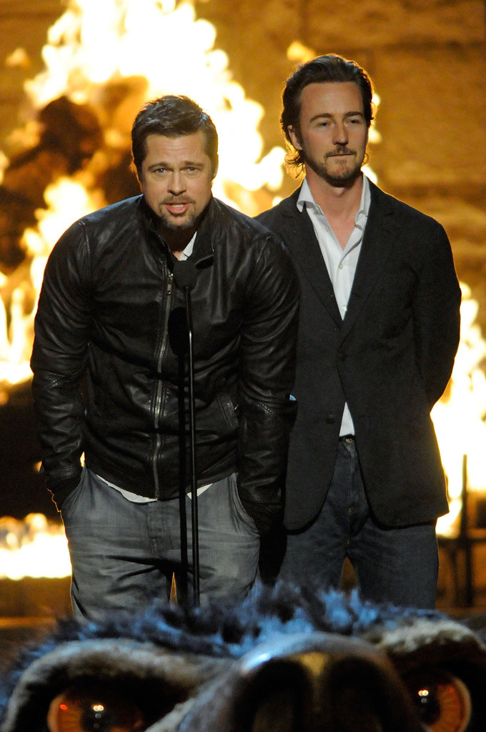 Brad Pitt was joined by Edward Norton in 2009 when they attended the Guys Choice Awards.