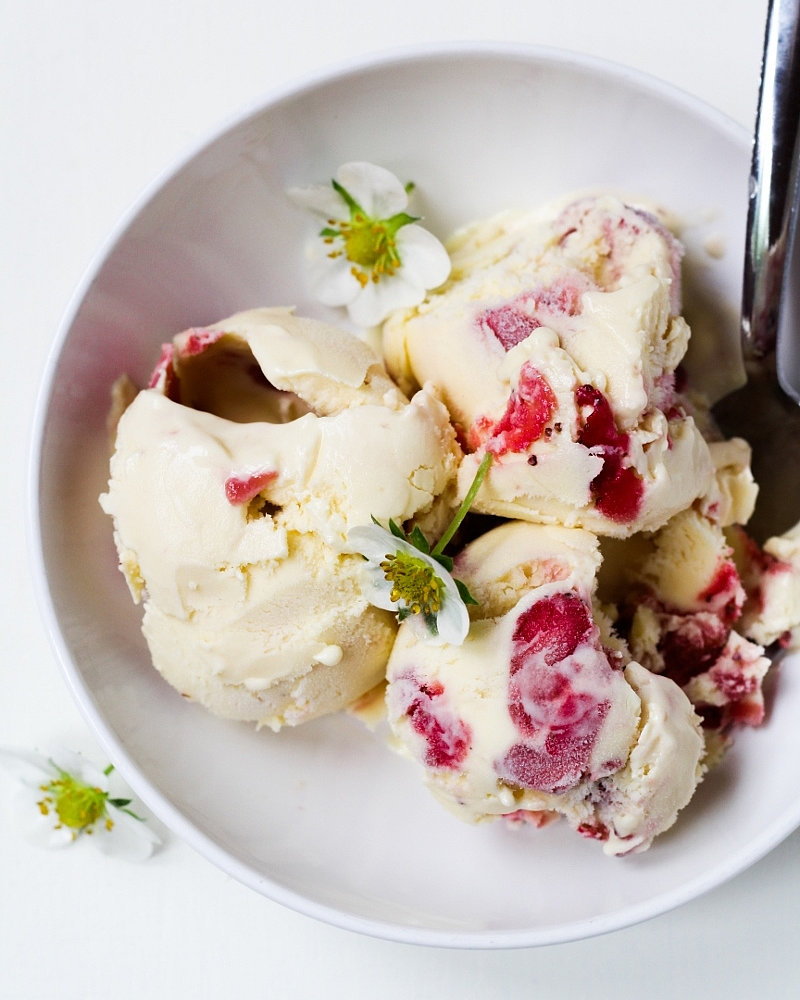 Strawberry Sour Cream Ice Cream