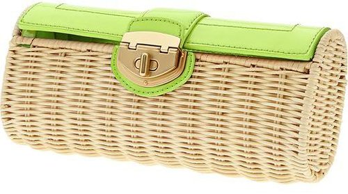 Milly Collection Patent Wicker Clutch