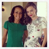 Miranda Kerr snapped a photo with Good Morning America's Linsey Davis after her interview. Source: Instagram user mirandakerr