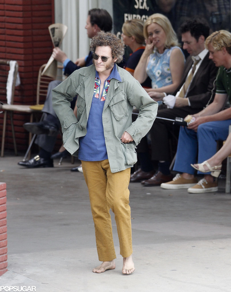 Joaquin Phoenix was looking pretty groovy on the set of Inherent Vice in LA on Tuesday.