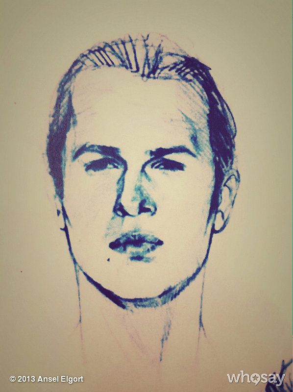 Ansel Elgort was proud of the sketch of him that hangs in the costume room. Source: Ansel Elgort on WhoSay