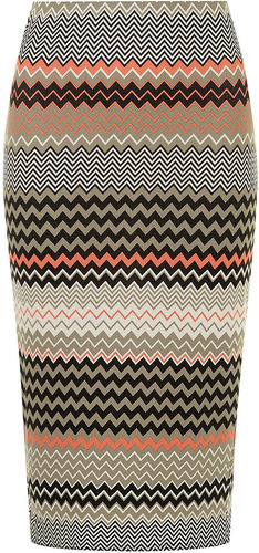 Khaki zigzag tube skirt