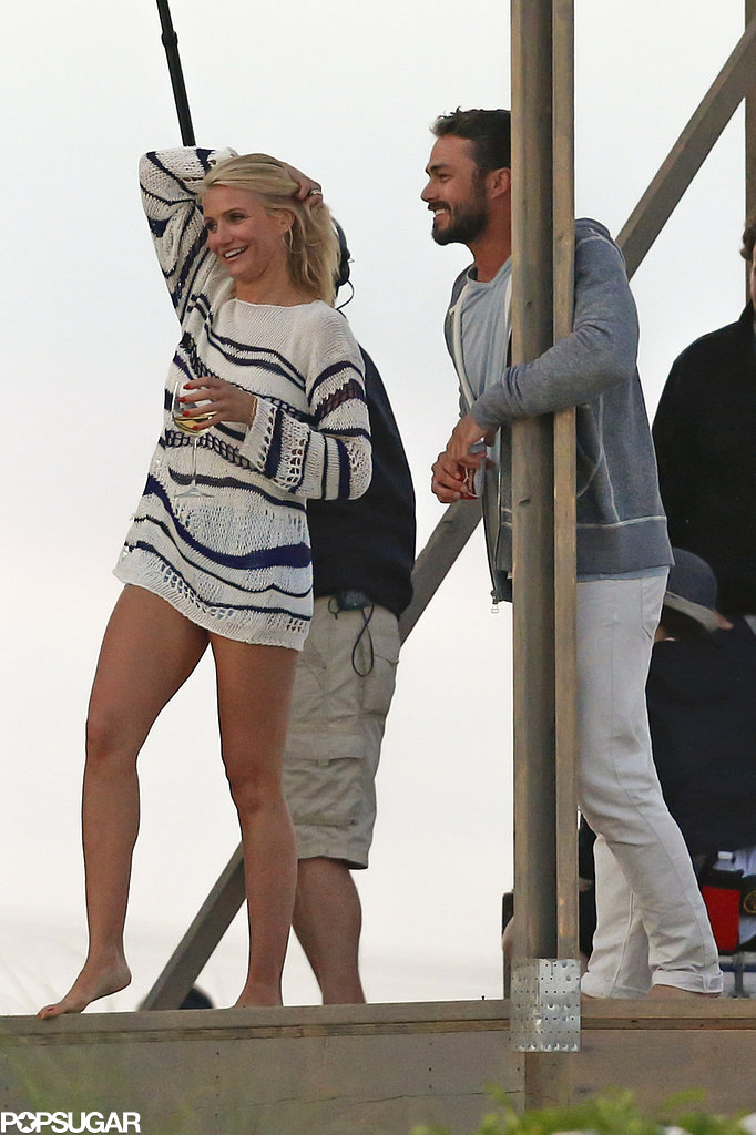 Cameron Diaz let loose with a glass of wine while filming The Other Woman in the Hamptons.