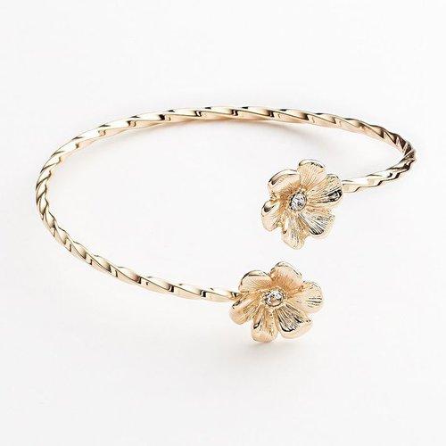 Lc lauren conrad gold tone simulated crystal flower twist cuff bracelet