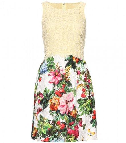 Dolce & Gabbana JACQUARD DRESS WITH LACE OVERLAY