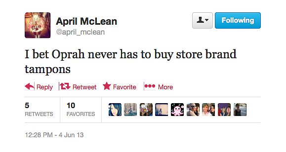 @april_mclean makes a really good point. Oprah is so lucky.