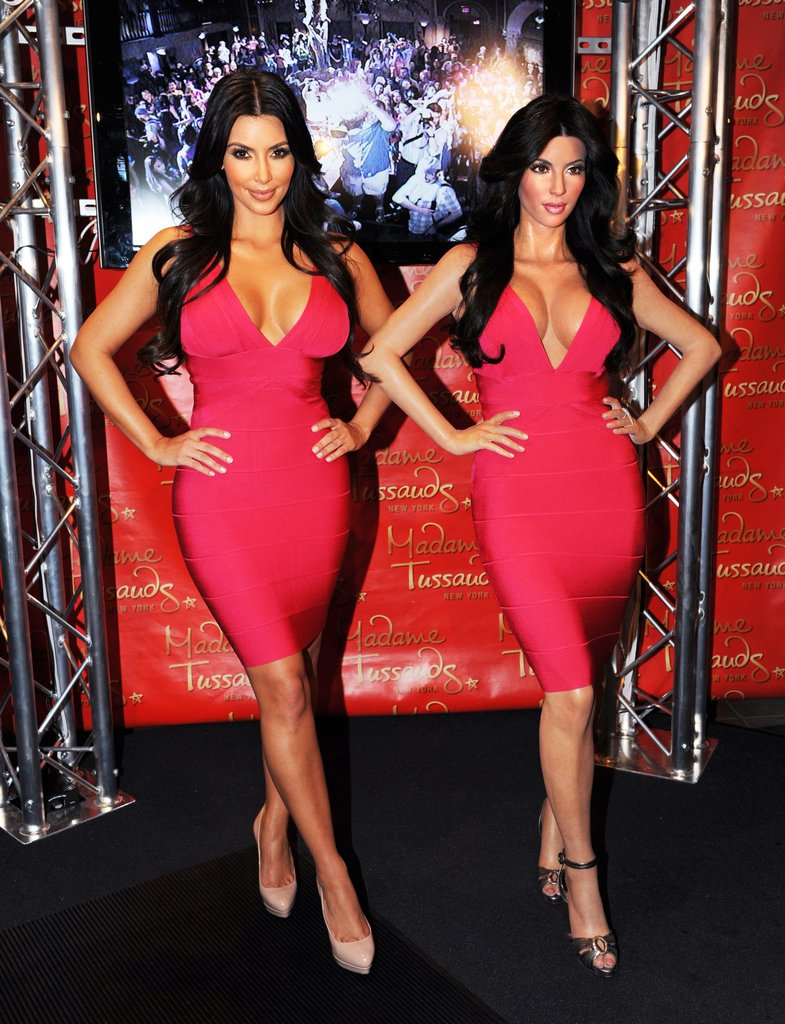 Kim Kardashian dressed up like her wax twin in July 2010 in NYC.