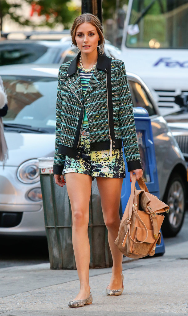 Olivia took her love of prints to new heights when she mixed a striped top with abstract shorts and a bouclé motorcycle jacket in NYC.