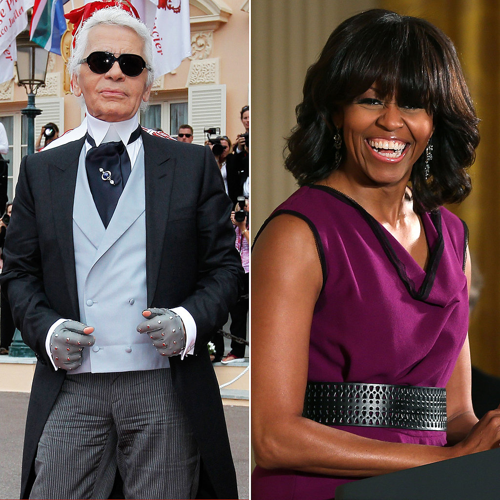 """Frankly, the fringe was a bad idea. It's not good. She looks like a news anchor.""  — Karl Lagerfeld on Michelle Obama's bangs, in an interview for France's Canal Plus."