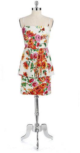 BETSEY JOHNSON Printed Peplum Dress