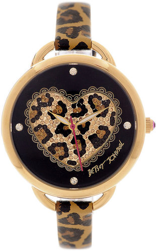 Betsey Johnson Watch, Women's Leopard Heart Printed Leather Strap 30mm BJ00067-14