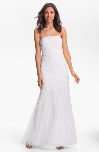 Adrianna Papell Strapless Rosette Mermaid Gown