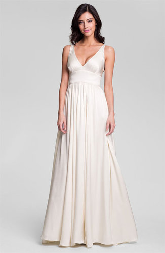 Nicole Miller 'Elizabeth' Crisscrossed Back Silk A-Line Gown