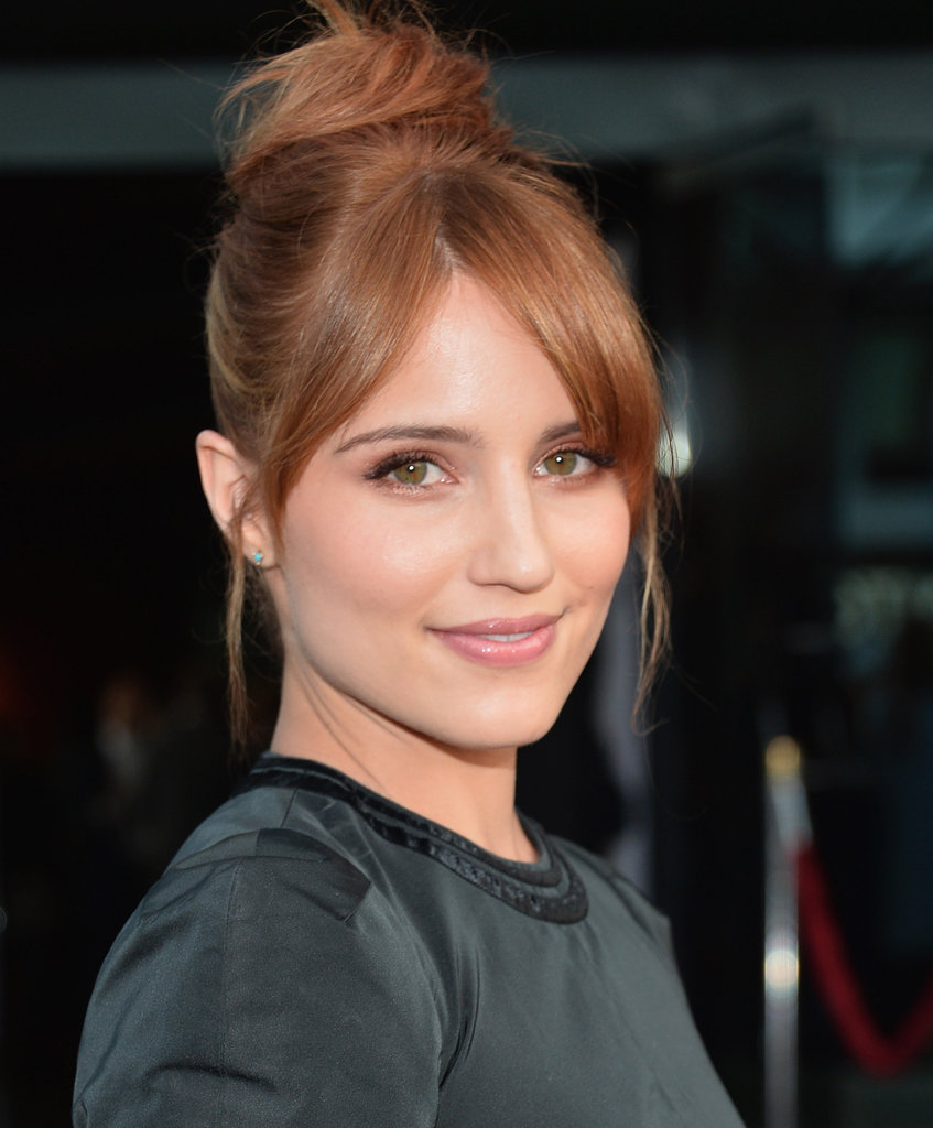 Dianna Agron's light auburn locks and glowing skin