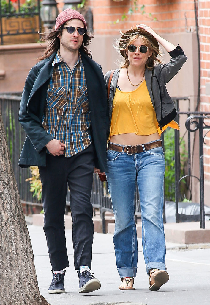 Sienna Miller wore a cropped Rachel Pally tank top as she walked with Tom Sturridge.