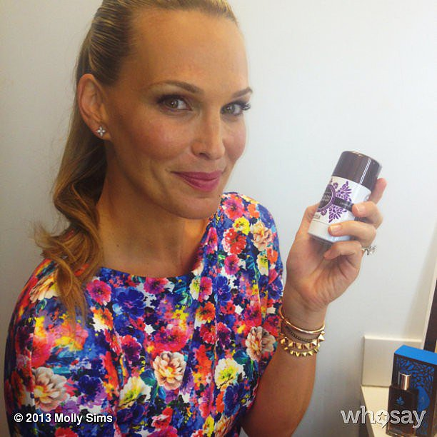 Instagram newbie Molly Sims showed off a new deodorant she's loving. Source: Instagram user mollybsims