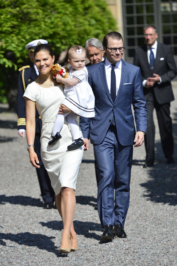 The three Swedish royals walked together at the royal palace.
