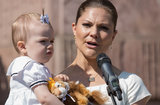 Princess Victoria held on to Estelle as she addressed the crowd.