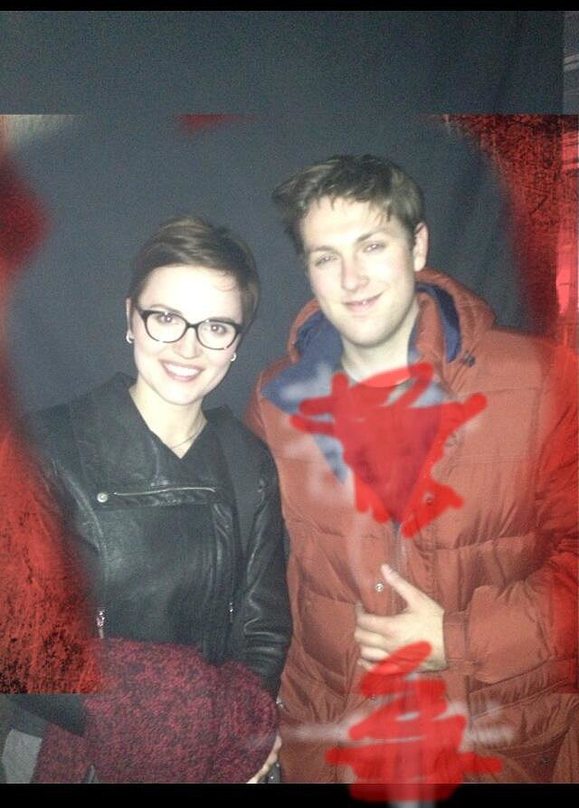 Christian Madsen and Veronica Roth posed together. Source: Twitter user cmadsen8
