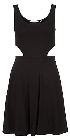 Black Cut Out Side Skater Dress