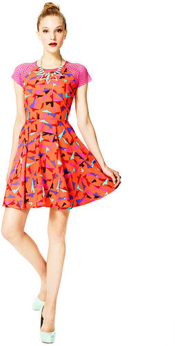 Fashion Star Dress, Short-Sleeve Printed Fit & Flare