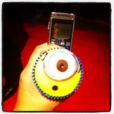 Cupcakes and a dictaphone. Jess was well sorted at the premiere of Despicable Me 2.
