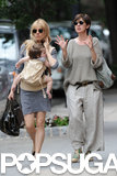 Sienna Miller and Phoebe Nicholls walked to a flea market.