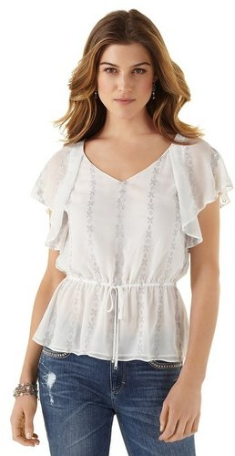 Embroidered Peplum Blouse