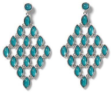 Silvertone Sea Glass Chandelier Earring