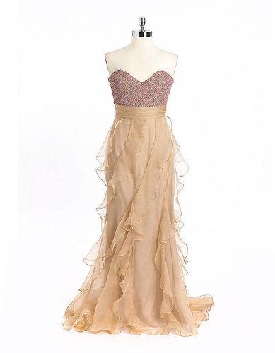 BADGLEY MISCHKA Strapless Sequined Silk Gown