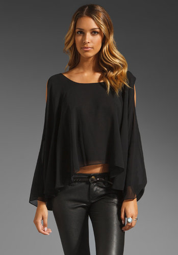 Jay Godfrey Belfour Silk Chiffon Open Shoulder Blouse