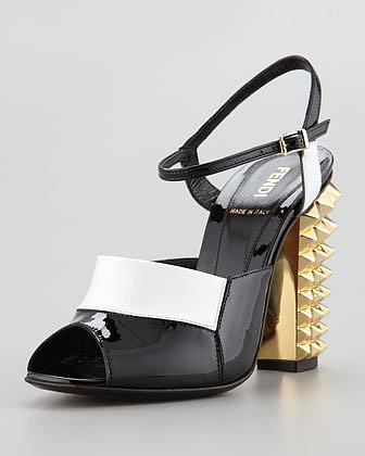 Fendi Patent Pyramid Stud High-Heel Sandal, Black/White