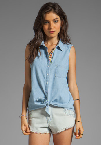 C&C California Chambray Sleeveless Tie-Front Shirt