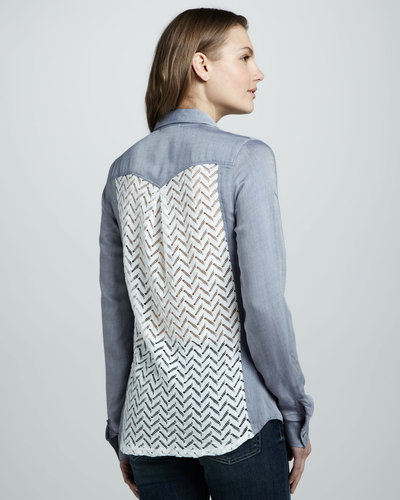 Ella Moss Jackson Lace-Back Chambray Blouse