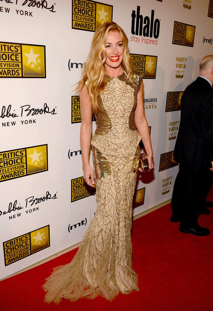 Cat Deeley wore a gold frock.