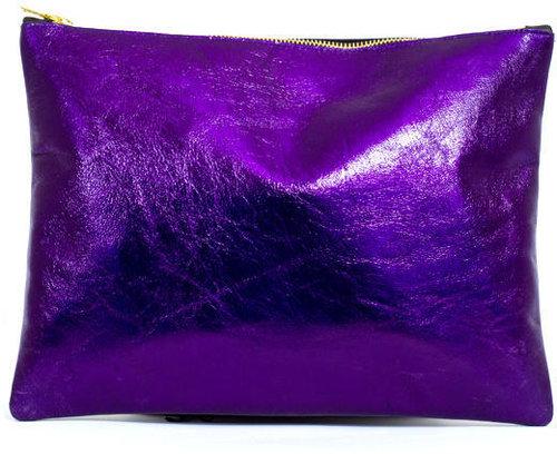 Black & Purple Leather Midi Clutch
