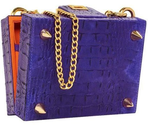 Mya Croc Embossed Leather Box Clutch